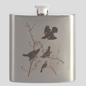 Red-Winged Starling Vintage Audubon Flask