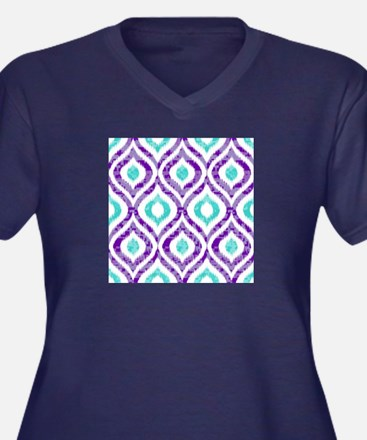 PURPLE AND TEAL IKAT 2 COPY Plus Size T-Shirt