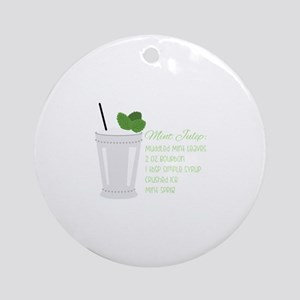 Mint Julep Recipe Round Ornament