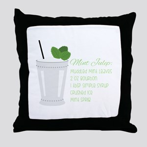 Mint Julep Recipe Throw Pillow