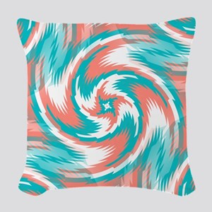 Coral Teal Swirl Woven Throw Pillow
