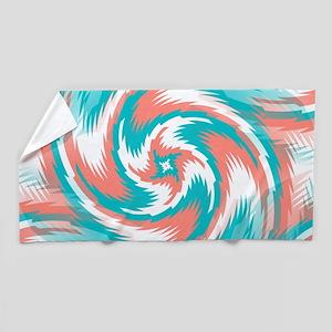 Coral Teal Swirl Beach Towel