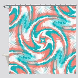 Coral Teal Swirl Shower Curtain
