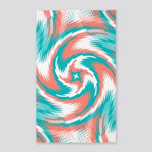Coral Teal Swirl Area Rug