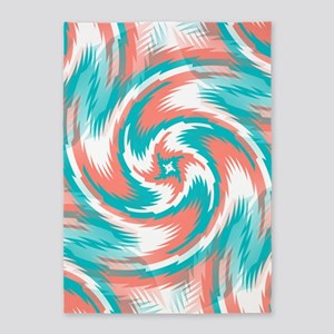 Coral Teal Swirl 5'x7'Area Rug