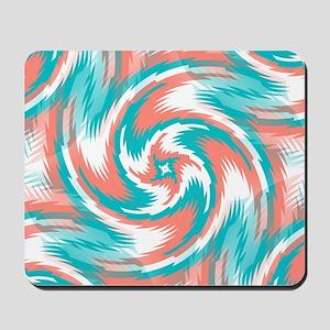 Coral Teal Swirl Mousepad