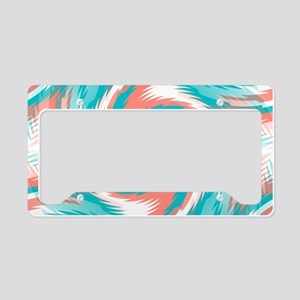 Coral Teal Swirl License Plate Holder