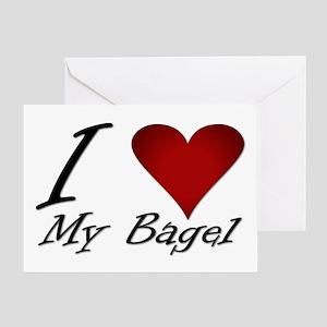 I Love My Bagel Greeting Card
