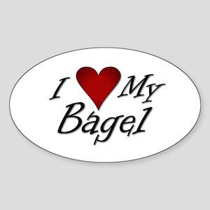 I Love My Bagel Oval Sticker