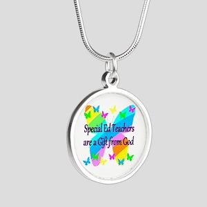 TEACHER PRAYER Silver Round Necklace