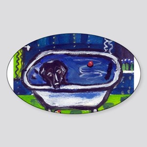 BLACK LAB takes bath Design Oval Sticker