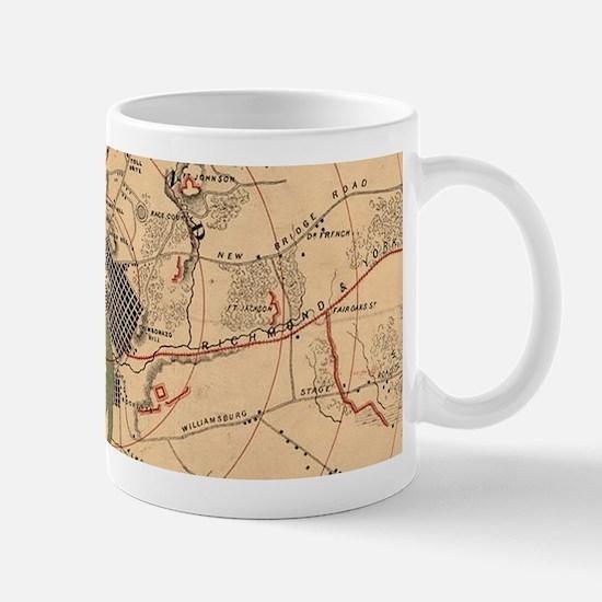 Vintage Richmond VA Rebel Defense Map (1864) Mugs