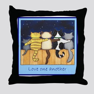 Love One Another - Cats / Kit Throw Pillow