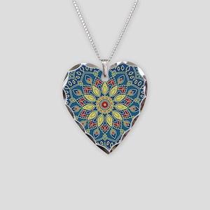 Mandala Flower Necklace Heart Charm