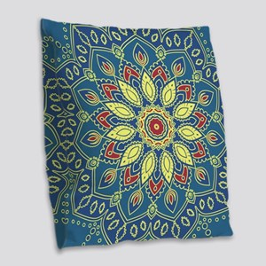 Mandala Flower Burlap Throw Pillow