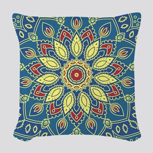 Mandala Flower Woven Throw Pillow