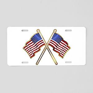 Old Glory Pin Padge Aluminum License Plate