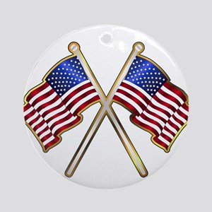 Old Glory Pin Padge Round Ornament
