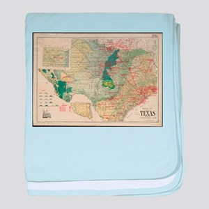 Vintage Map of The Texas Oil and Gas baby blanket