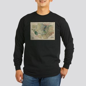 Vintage Map of The Texas Oil a Long Sleeve T-Shirt