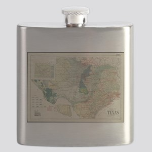 Vintage Map of The Texas Oil and Gas Fields Flask