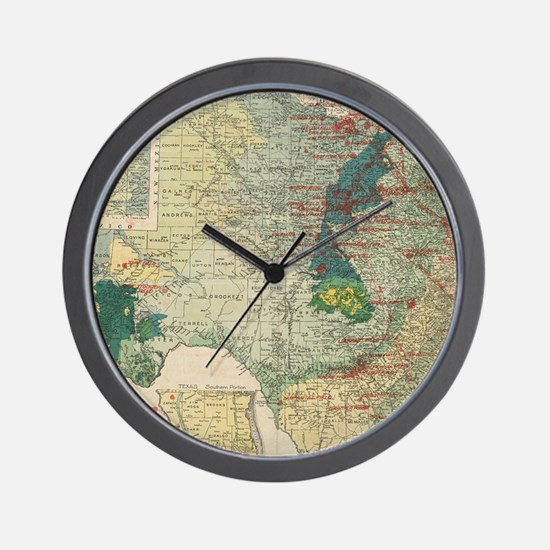Vintage Map of The Texas Oil and Gas Fi Wall Clock