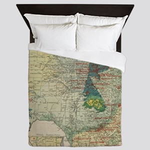 Vintage Map of The Texas Oil and Gas F Queen Duvet