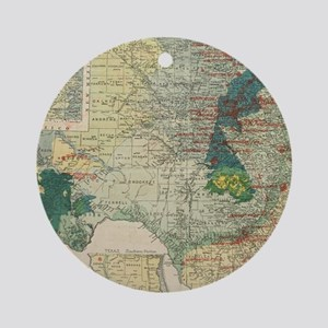 Vintage Map of The Texas Oil and Ga Round Ornament
