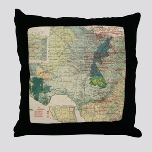 Vintage Map of The Texas Oil and Gas Throw Pillow