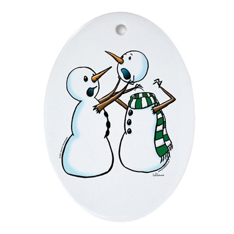 Snowman Fight Oval Ornament