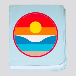 Horizon Sunset Illustration with Cras baby blanket