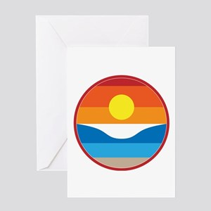 Horizon Sunset Illustration with Cr Greeting Cards