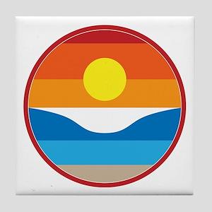 Horizon Sunset Illustration with Cras Tile Coaster