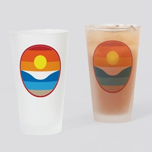 Horizon Sunset Illustration with Cr Drinking Glass