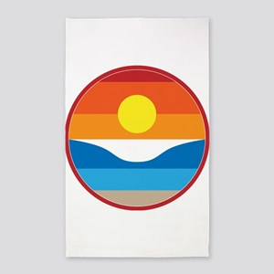 Horizon Sunset Illustration with Crashing Area Rug