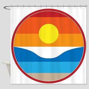 Horizon Sunset Illustration with Cr Shower Curtain