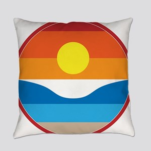 Horizon Sunset Illustration with C Everyday Pillow