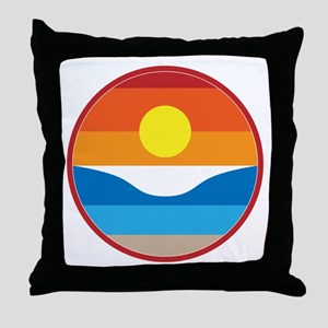 Horizon Sunset Illustration with Cras Throw Pillow