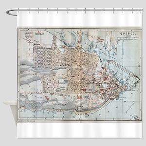 Vintage Map of Quebec City (1894) Shower Curtain