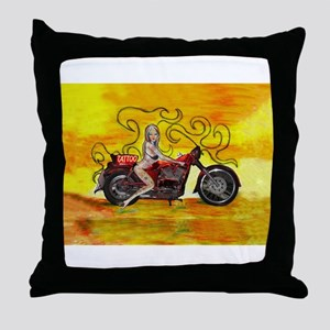 Pinup girl biker with Tattoo sign Throw Pillow