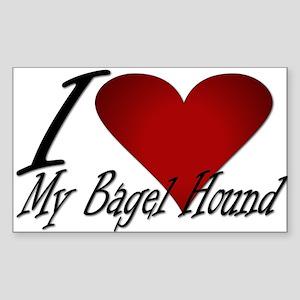 I Heart My Bagel Rectangle Sticker