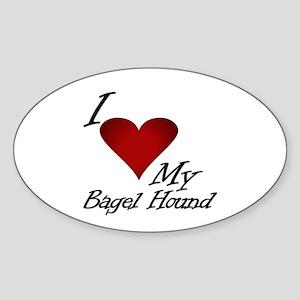 I Heart My Bagel Oval Sticker