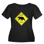 Bear Crossing Women's Plus Size Scoop Neck Dark T-