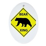 Bear Crossing Ornament (Oval)