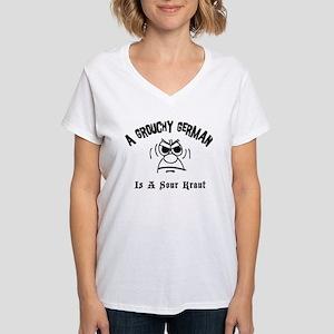 Grouchy German Women's V-Neck T-Shirt