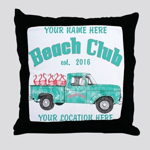 Flamingo Beach Club Throw Pillow