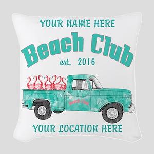 Flamingo Beach Club Woven Throw Pillow