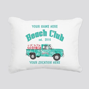 Flamingo Beach Club Rectangular Canvas Pillow
