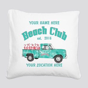 Flamingo Beach Club Square Canvas Pillow