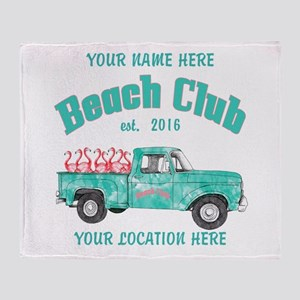 Flamingo Beach Club Throw Blanket